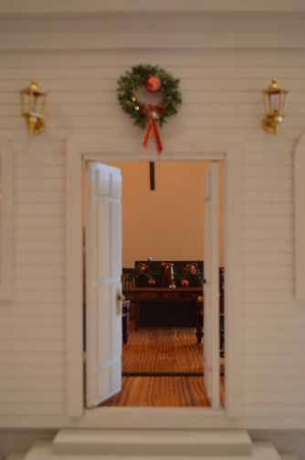 A glimpse through the church's front door.
