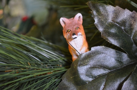 Among this year's decorations are five tiny foxes, part of scavenger hunt for our younger visitors.