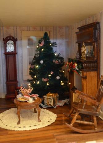 "Christmas tree inside ""The Apple Blossom."""