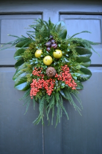 A wreath on the door of an administrative building.
