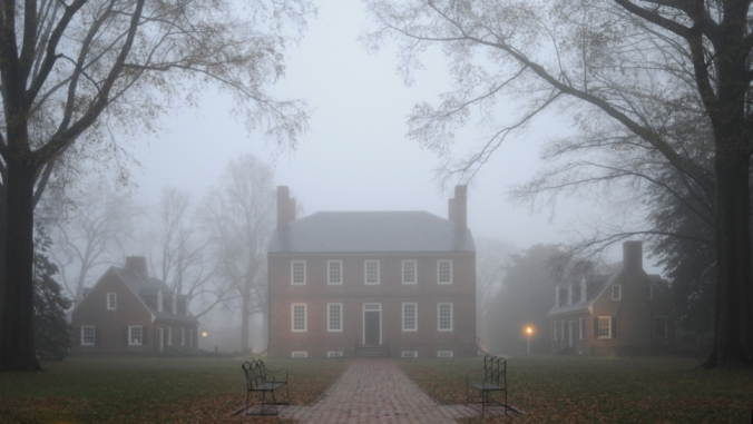 Historic Kenmore, home of Fielding and Betty Washington Lewis, on a foggy December morning.