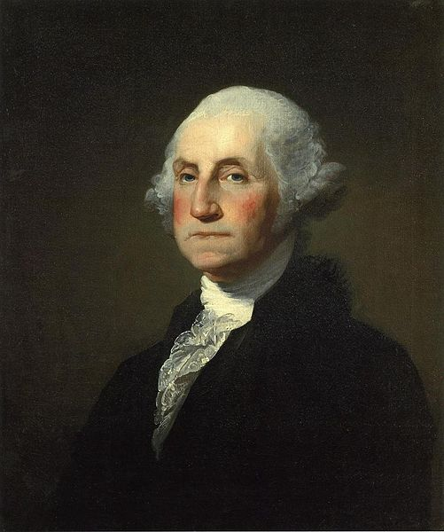 George Washington, 1796, by Gilbert Stuart [Public Domain].  His hair was pomaded and powdered by his personal valet.