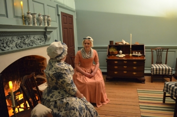 Betty Washington Lewis (Amy Wolf) and daughter-in-law Nancy Alexander Lewis (Juliana Jones) ponder how the war might impact the family.