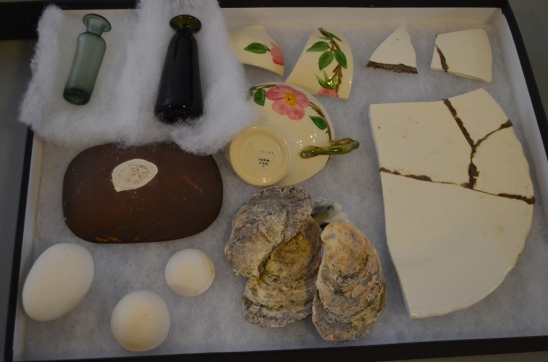 These objects form the part of the exhibit that explains how colonial people made glues to mend their ceramics. Several pieces of Mary Washington's ceramics excavated at Ferry Farm have glue residue on them.