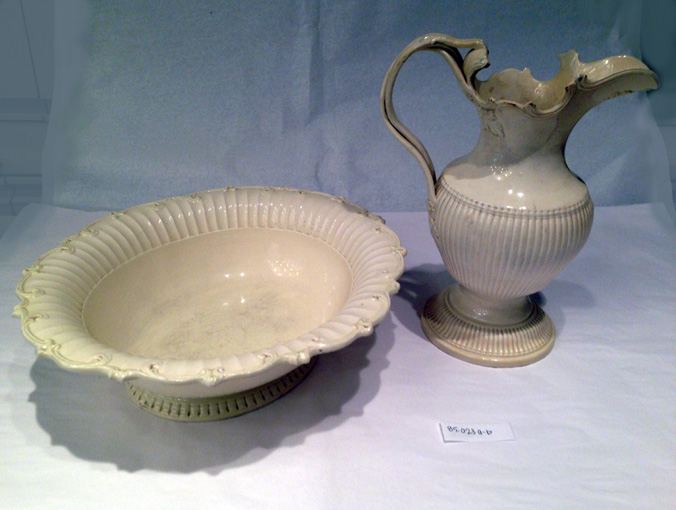 Most early Americans washed daily using water from a pitcher and basin. Ornate sets similar to the one depicted would have been found in the homes of the wealthy like Fielding and Betty Lewis.