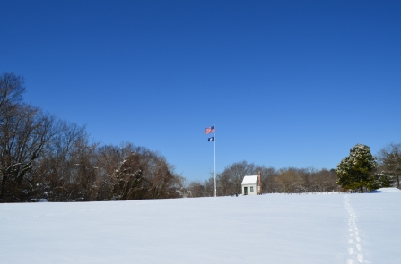 Flags fly over Ferry Farm.
