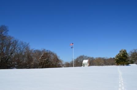 Flags fly over Ferry Farm.