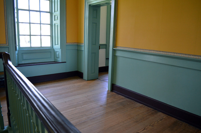 The second floor landing where Rood was treated for his wounds.