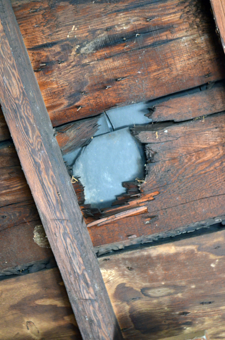 Cannon ball hole in Kenmore's roof.