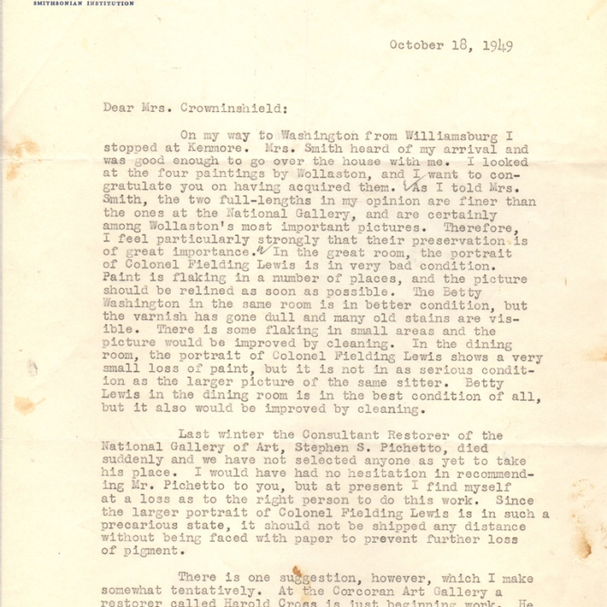 1/2 - Initial letter from John Walker to Louise Dupont Crowinsheild, October 18, 1949, offering to assist in the conservation of the Wollaston portrait of Fielding Lewis. Kenmore Manuscript Collection.