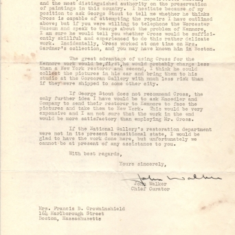 2/2 - Walker recommends Harold Cross to do the conservation work and suggests contacting George Stout for a reference. Kenmore Manuscript Collection.