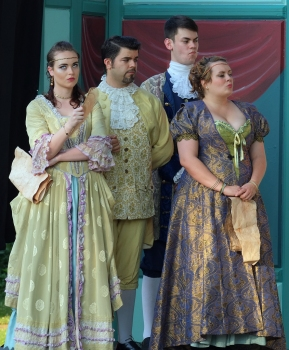Regan and Goneril show disdain for Cordelia's declaration. Albany (Casey Fero - center left) and Cornwall (Patrick Siegmund - center right) look on.