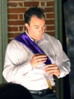 Cloten (Mark Wright) plays the flute for Imogen, who he and his mother The Queens hope he can marry.