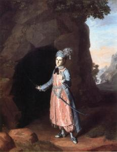 Nancy Hallam as Fidele in Shakespeare's Cymbeline. 1771. Courtesy of Colonial Williamsburg Foundation.