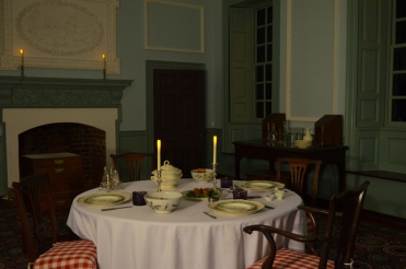 The dining room was lit to approximate nighttime conditions.