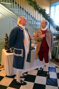 George Weedon (L-Rae Ehlen) and Fielding Lewis (R-John Hollinger) lament the burning of Norfolk and Dunmore's Proclamation.
