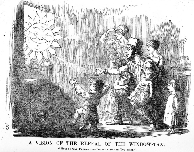 This cartoon from an 1850 edition of the British satircal magazine Punch advocated for the repeal of the window tax. Indeed, repeal finally took place in July 1851. Credit: Wellcome Library, London.