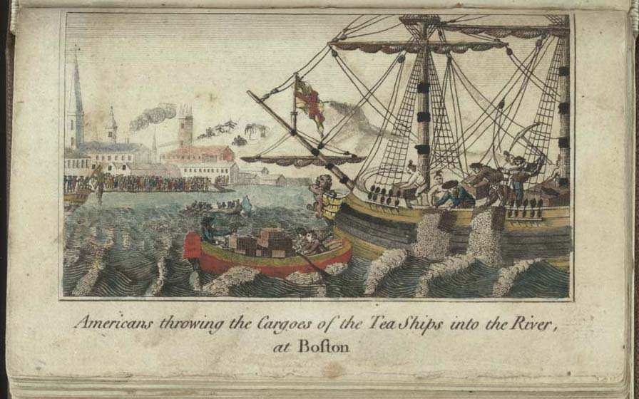 """""""Americans throwing Cargoes of the Tea Ships into the River, at Boston,"""" engraving by W.D. Cooper in The History of North America. London: E. Newbury, 1789. Credit: Library of Congress / Wikimedia Commons"""