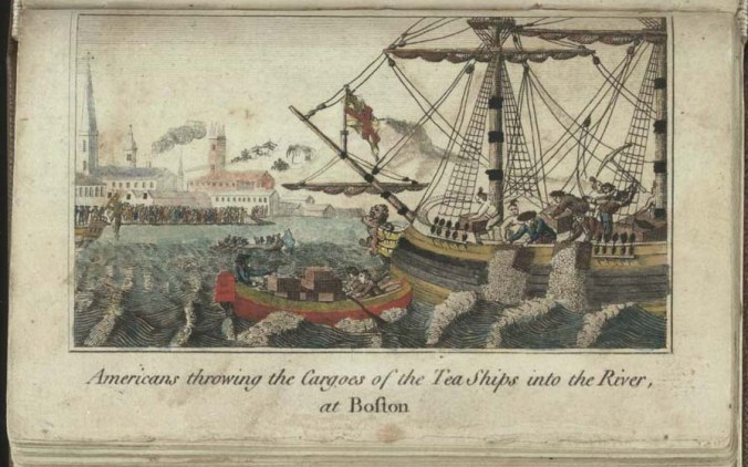 """Americans throwing Cargoes of the Tea Ships into the River, at Boston,"" engraving by W.D. Cooper in The History of North America. London: E. Newbury, 1789. Credit: Library of Congress / Wikimedia Commons"