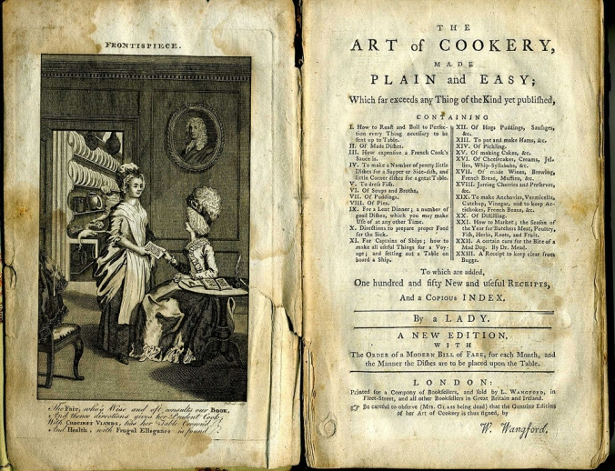 Glasse's 'Art of Cookery' frontispiece
