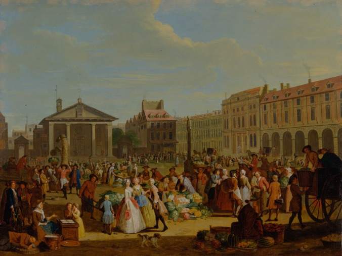 Pieter Angillis, 1685–1734, Flemish, active in Britain (from ca. 1715), Covent Garden, ca. 1726, Oil on copper. Pubic domain. Credit: Yale Center for British Art, Paul Mellon Collection