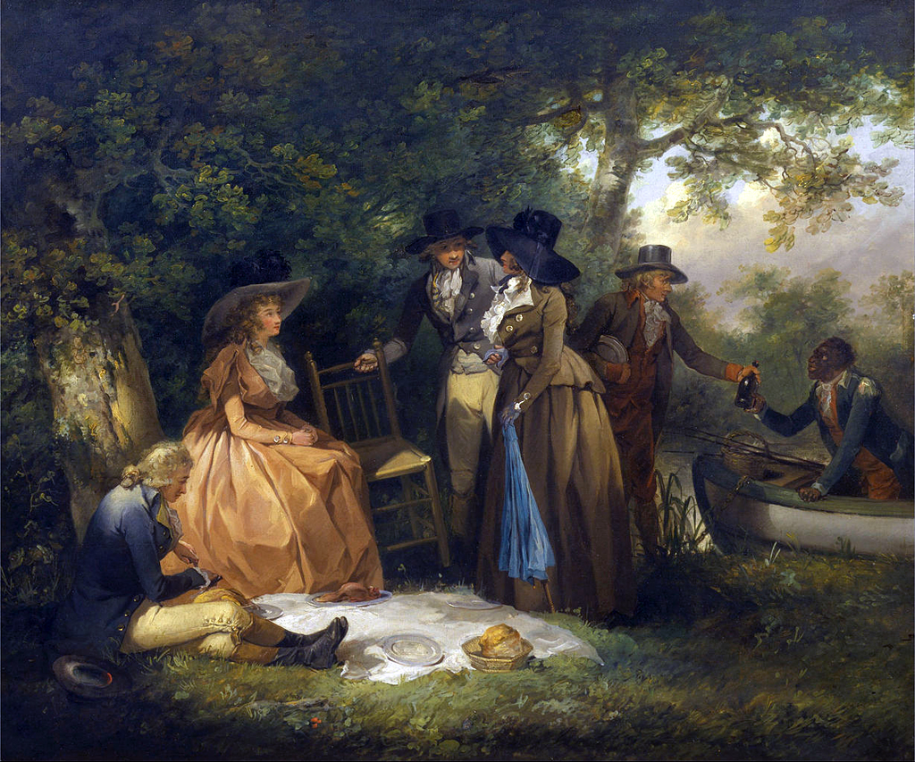 This painting shows chairs being provided for the ladies to use during lunch on a fishing trip. The Anglers' Repast (1789) by George Morland, 1763–1804, British, Oil on canvas. Public domain. Credit: Yale Center for British Art, Paul Mellon Collection.