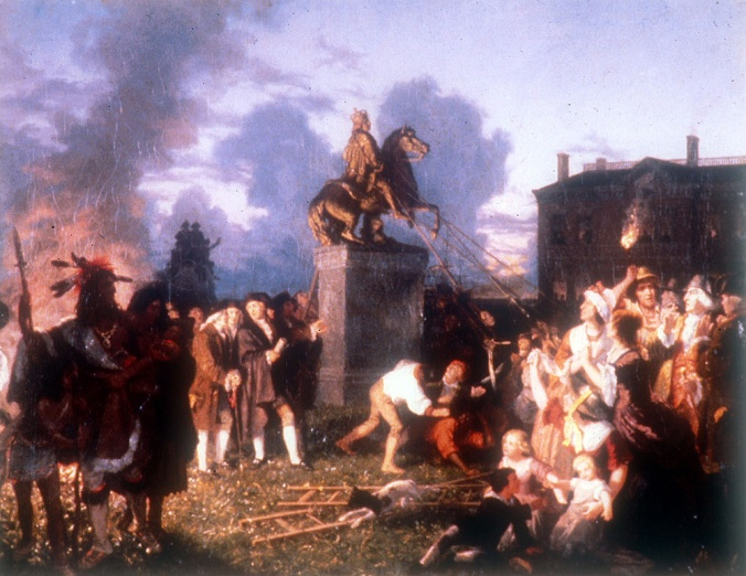 Johannes Adam Simon Oertel. Pulling Down the Statue of King George III, N.Y C. ca. 1859. Oil on canvas. Artist Johannes A. S. Oertel, working in the mid-nineteenth century, provides an imagined depiction of the destruction of George III's statue in Bowling Green, the first victim of New Yorkers' reaction to hearing news of the Declaration of Independence. Oertel places women, children and Native Americans among what eyewitnesses recorded as a rowdy crowd of soldiers and civilians. No true image of the statue itself survives. However, contemporary descriptions inform us that the King was sculpted in Roman garb, not the eighteenth-century royal dress shown in the painting. More accurate is the view of the statue reconstructed by Charles M. Lefferts at right.