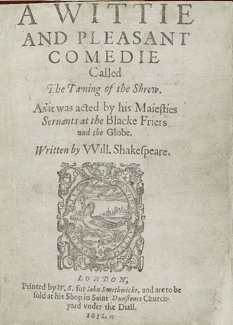 First Quarto title page of The Taming of the Shrew