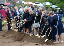 Breaking ground for the Washington House interpretive replica in April 2015.