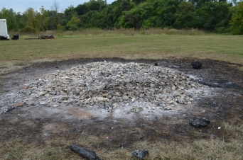 On the next day, the burned and brittle shells were ready to be sifted to remove the ash and stored in barrels. Water must be added to break the shell down into lime.