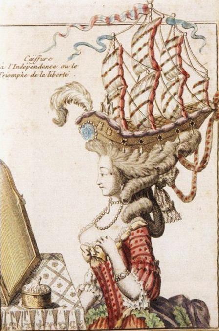 """A satirical view of the """"Coiffure à la Belle Poule."""" Public domain. Credit: Henri Moreau/Wikipedia."""