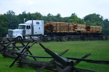 Timbers arrive from Blue Ridge Timberwrights in Christiansburg.