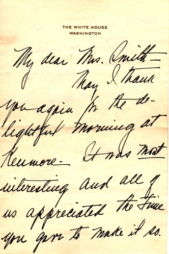 Thank you note from Mrs. Truman praising her visit to Kenmore and promising to bring other family members in the future..