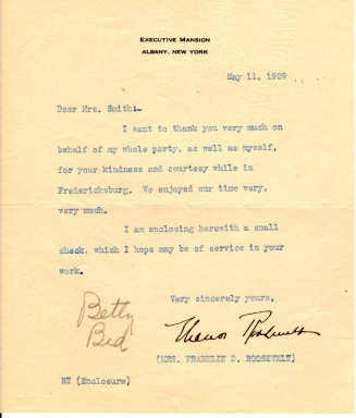 Thank you note from Eleanor Roosevelt in appreciation of her visit to Kenmore. She included a donation.