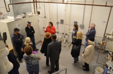Inside the geothermal HVAC 'vault', visitors learned how 21st century technology preserves and protects an 18th century home and its artifacts.