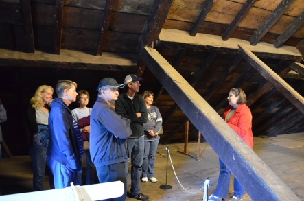 Visitors in the attic heard about how dendrochronology, the dating of timber using tree rings, helped determine that Kenmore was built between 1770 and 1775.