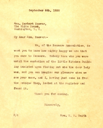 Letter to Mrs. Hoover to thank her for visiting Kenmore.