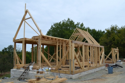 Adding rafters.