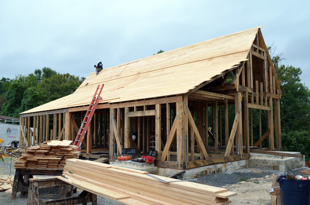 Framing and roof sheathing complete. Shingles will come next.