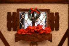 Wreath on a window of Tattersall Hall