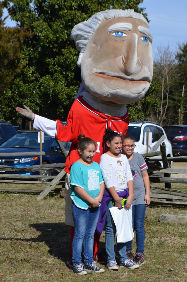 George, one of The Washington Nationals' Racing Presidents, stopped by the celebration.