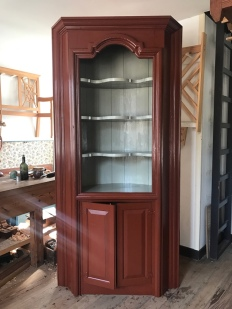 The finished reproduction corner cupboard for the Washington house at Ferry Farm.