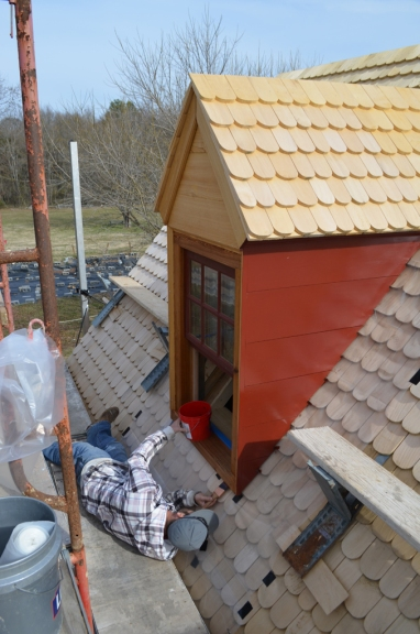 Painting the dormers.