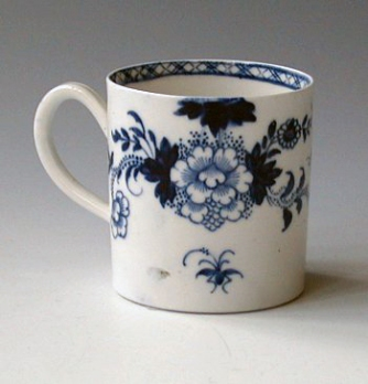 Porcelain Coffee Mug dating from 1765-1768 made by Philip Christian & Co. in Liverpool, England.