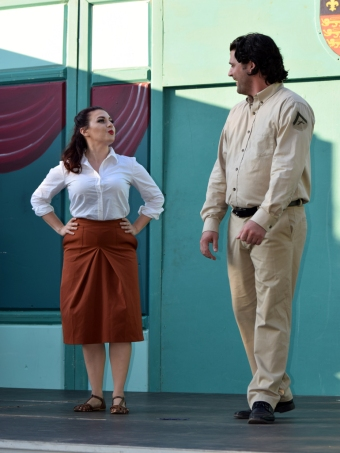Benedick (Zach Brown) and Beatrice (Sarah Hall) spar verbally.