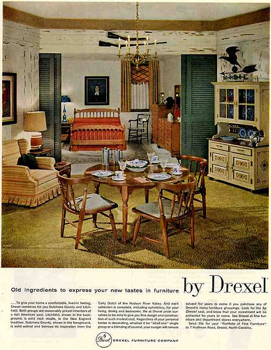 Advertisements for home furnishings in the Colonial Revival style in the 1960s and 1970s.