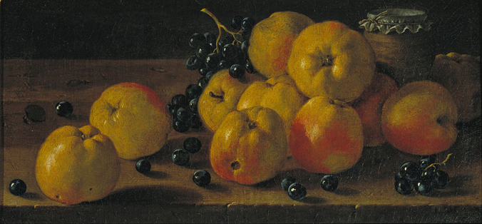 Still Life with Apples, Grapes and a Pot of Jam (1700s) by Luis Meléndez