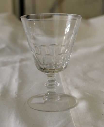 A baluster-stem wine goblet, perhaps from the 1930s, that is a pretty good approximation of a similar 18th century wine glass found archaeologically at Ferry Farm.