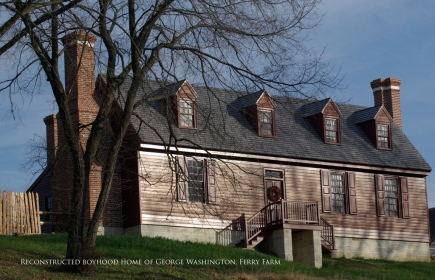 The nearly completed reconstructed Washington house at Ferry Farm.