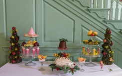 The traditional 18th century dessert table inside of Kenmore.